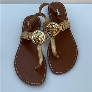 TORY BURCH gold sandals size 9m